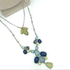 Double Strand Blue Green Fashion Necklace